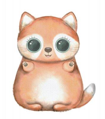 Плакат Red kawaii cartoon cute fox with big eyes isolated on white background. Watercolor hand drawn illustration