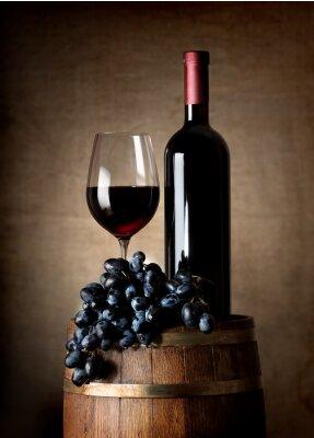 Плакат Красное вино с баррель и винограда