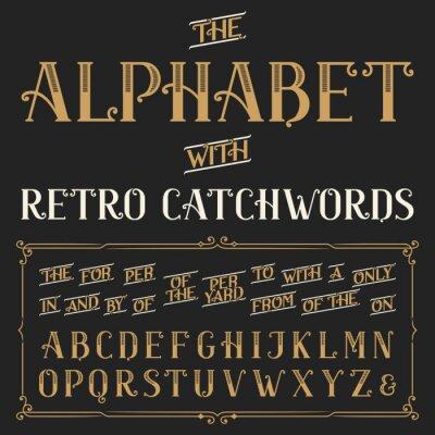Плакат Ретро алфавит векторный шрифт с лозунгами. Изысканные буквы и словечек, для, а, с, с, по др Векторный типографии для этикетки, заголовки, плакатов и т.д.