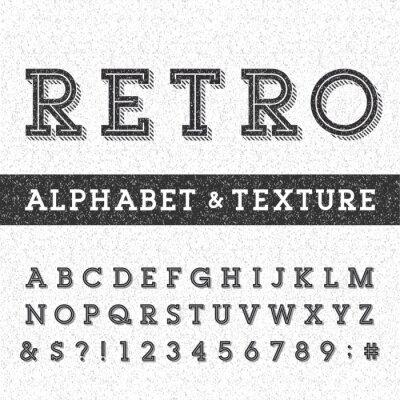 Плакат Ретро алфавит векторный шрифт с проблемными наложения текстуры. Буквы с засечками типа, числа и символы на проблемных поцарапал фоне. Векторной типография для этикеток, заголовки, плакатов и т.д.