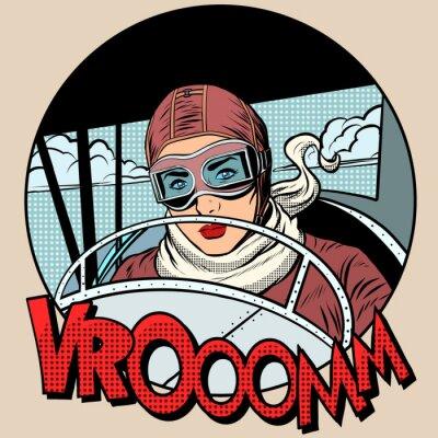 Плакат Ретро Авиатор женщина на плоскости