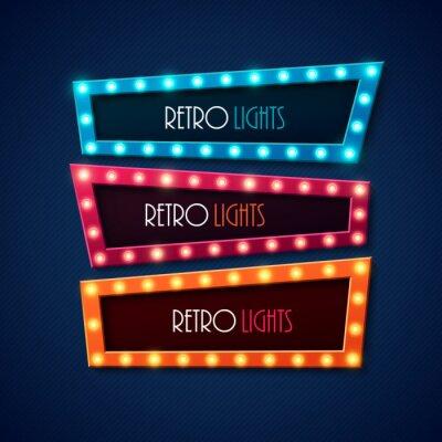 Плакат Ретро баннер с сияющих огнями. Векторная иллюстрация.