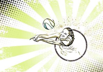 Плакат Ретро пляжный волейбол плакат фон