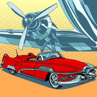 Плакат Ретро автомобиль на взлетно-посадочной полосы