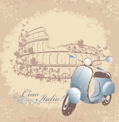 Плакат Ретро путешествия в Италию карты. Урожай скутеров и Колизей в Риме