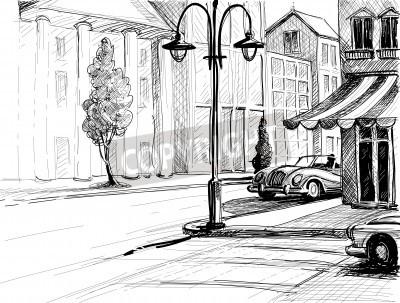 Плакат Ретро Город эскиз, улица, здания и старые автомобили векторные иллюстрации, бумага, карандаш стиле