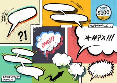 Плакат Ретро комиксов пузыри речи