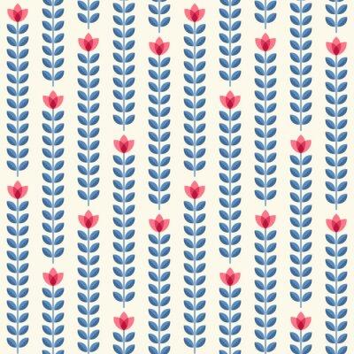 Плакат Ретро цветочный узор, геометрические бесшовные цветы