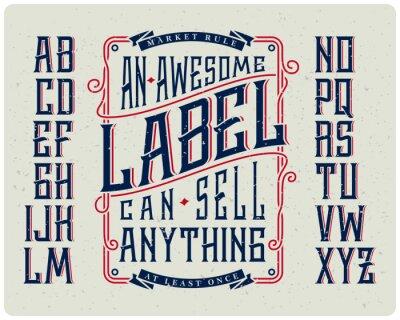Плакат Ретро набор шрифтов с орнаментом рамка для принятия дизайн этикетки