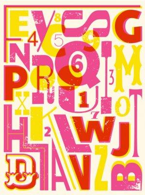 Плакат Ретро Буквы и цифры