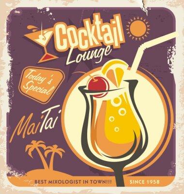 Плакат Ретро дизайн плаката для одной из самых популярных коктейлей