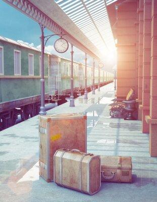 Плакат Ретро железнодорожный вокзал