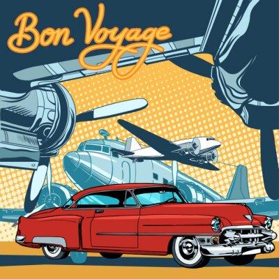 Плакат Ретро красный автомобиль на взлетно-посадочной полосы стиле поп-арт ретро