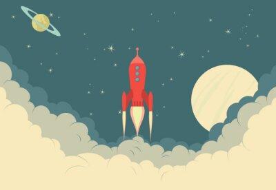 Плакат Ретро космический корабль Ракета