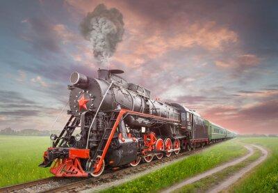 Плакат Ретро Советский паровоз