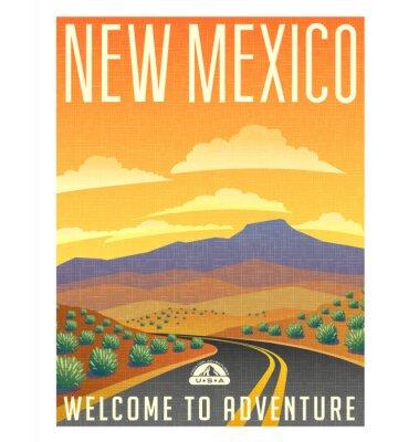 Плакат Ретро стиль путешествий плакаты или наклейки. США, Нью-Мексико пустыни горный пейзаж.