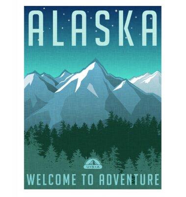 Плакат Ретро стиль путешествий серия плакатов. США, Аляска Горный пейзаж.