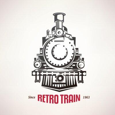 Плакат ретро поезд, марочные символ вектор, эмблема, шаблон этикетки