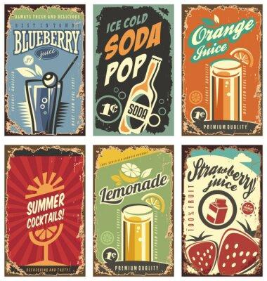 Плакат Ретро декор стен с соков и напитков набор