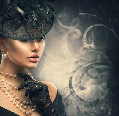 Плакат Винтажный стиль девушка носить старомодную шляпу