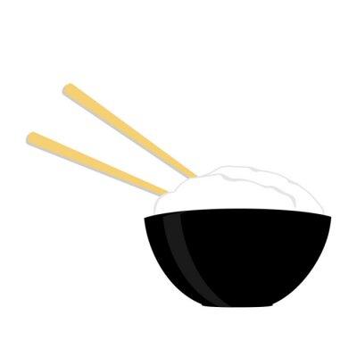 Плакат Райс чаша с двумя палочками