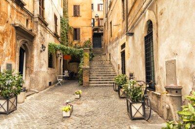 Плакат романтическая аллея в старой части Рима, Италия