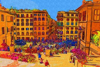 Плакат Рим Италия искусства иллюстрации