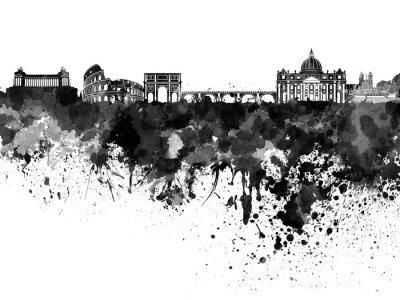 Плакат Рим горизонт в черном акварель