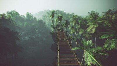 Плакат Веревочный мост в туманном джунгли с пальмами. С подсветкой.