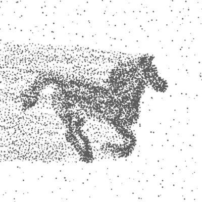 Плакат Бегущий конь из частиц. Точечный фон. Вектор