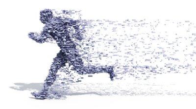 Плакат Бегущий человек из блоков