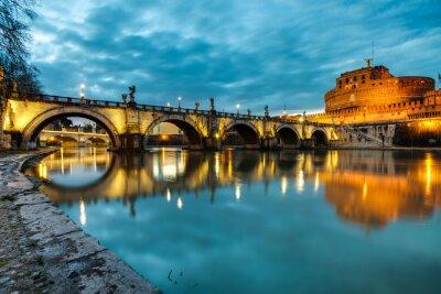 Плакат S.Angelo мост и замок, Рим, Италия