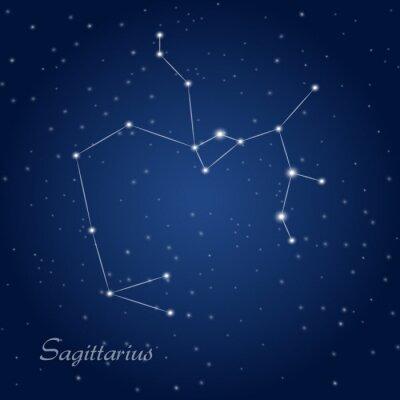 Плакат Стрелец знак зодиака созвездие на звездное ночное небо