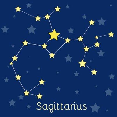 Плакат Стрелец Огонь зодиака созвездие со звездами в космосе. Векторное изображение