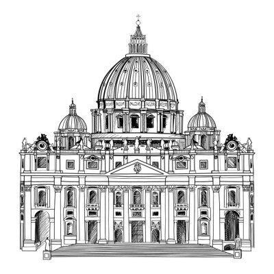 Плакат Собор Святого Петра в Риме, Италия. Ватикан архитектура.