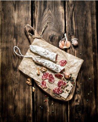 Плакат Салями приправленные чесноком и специями.