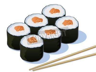 Плакат Salmon Sushi Rolls with Chop Sticks