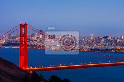 Плакат Сан - Франциско и мост Золотые Ворота в ночное время