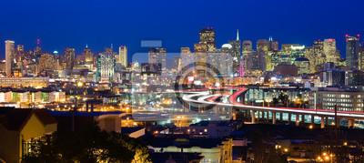 Плакат Сан - Франциско небоскребов в ночное время