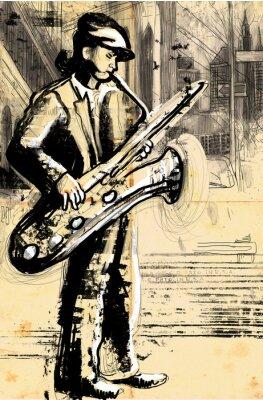 Плакат саксофонист (полноразмерный рисунок рука - оригинал)