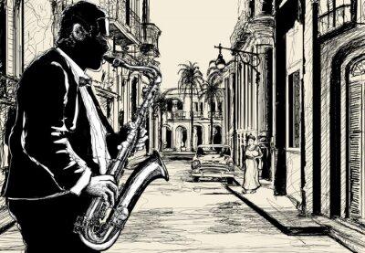 Плакат саксофонист на улице Кубы