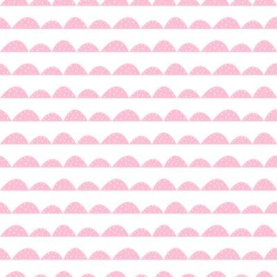 Плакат Скандинавский бесшовный розовый узор в рисованной стиле. Стилизованный холма строк. Волна простой шаблон для ткани, текстиля и детского белья.