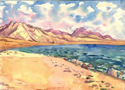 Плакат море и горы. Пейзаж. Акварельная живопись
