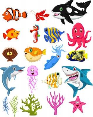 Плакат sea life cartoon collection