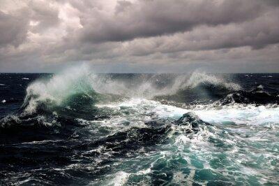 Плакат sea wave in atlantic ocean during storm