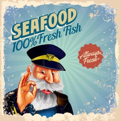 Плакат морепродукты свежие капитан рыбы