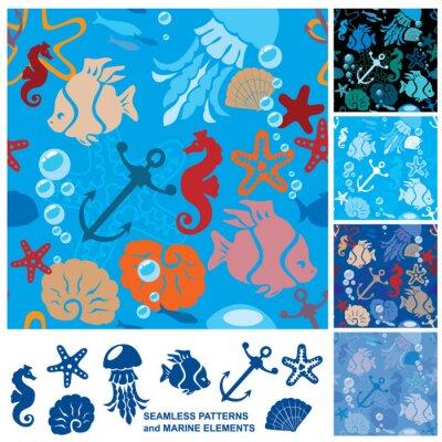 Плакат Бесшовные фон с морской жизни