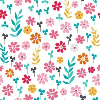 Плакат Бесшовные яркий цветочный узор скандинавское