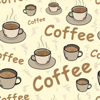 Плакат Бесшовные кофе с паром