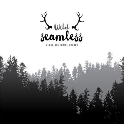 Плакат бесшовные хвойный лес граница